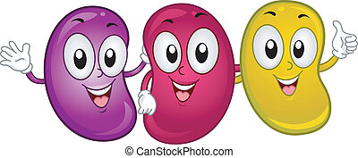 Jellybean Mascots - Illustration of Happy Jellybean Mascots