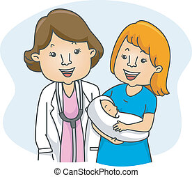 Doctor and New Mother - Illustration of a Doctor and a New...