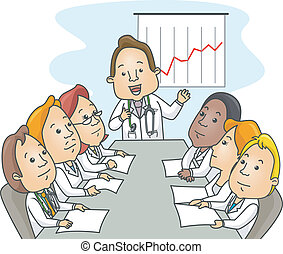 Doctors Meeting - Illustration of a Groupr of Doctors in the...