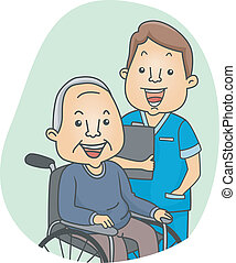Nurse and Patient - Illustration of a Nurse and His Elderly...