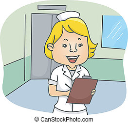 Female Nurse - Illustration of a Female Nurse Making Some...