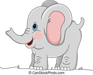 Happy Baby Elephant - Image representing a happy baby...