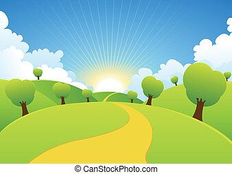 Spring Or Summer Seasons Rural Background - Illustration of...
