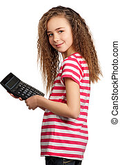 Girl with calculator - Portrait of happy girl with...