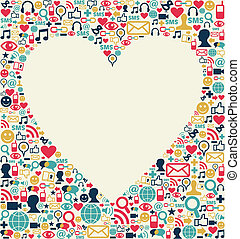 Social media love heart texture - Social media icons set...