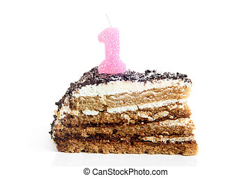 Slice of chocolate birthday cake with number one candle