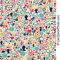 Social media network icons pattern - Social media network...