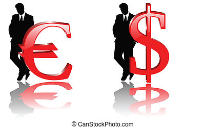 the vector dollar and euro sign with businessman