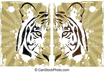 the vector abstract tiger head