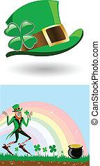 the vector leprechaun with a gold pot