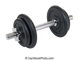 Black dumb-bell - Black dumbbell for sport on white...