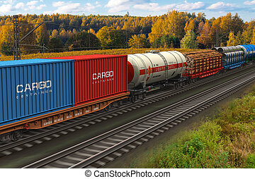 Freight train - Scenic view of mixed freight train within...
