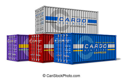 Group of cargo containers isolated on white background...