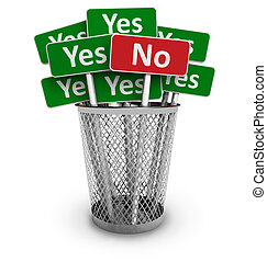 Voting concept: No sign among group of Yes signs in metal...