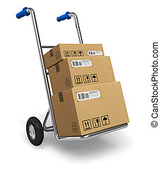 Hand truck with cardboard boxes - Metal hand truck with...