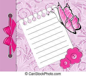 Baby girls arrival announcement card with butterfly