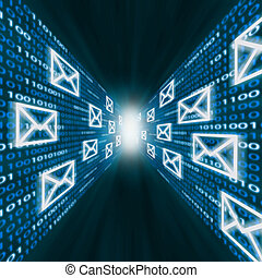 E-mail icons flying along walls of binary code - E-mail...