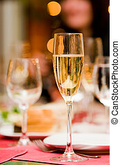 Champagne glass with abstract backlights