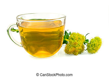Herbal Tea and Flowers Rhodiola rosea - Healing herbal tea...