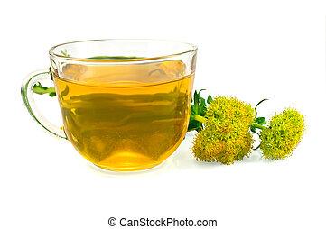 Herbal Tea and Flowers Rhodiola rosea - Healing herbal tea...