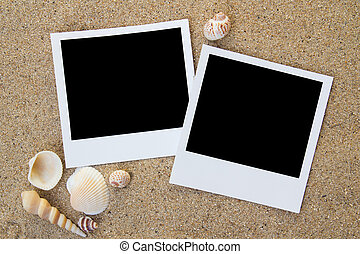 Summer beach photo frames - Polaroid photo frames on the...