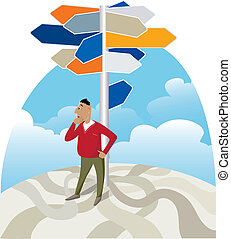 Looking for direction at signpost - Vector illustration of a...