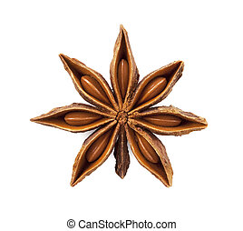 Star anise was placed on a white background