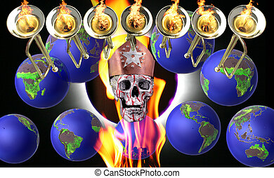 7 trumpets with fire flames, globes, human silver skulls and...