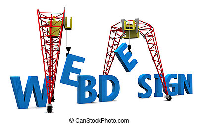 Web Design 3D words - Construction site crane building Web...