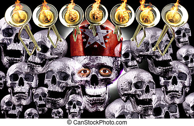7 trumpets with fire flames, human silver skulls and solar...