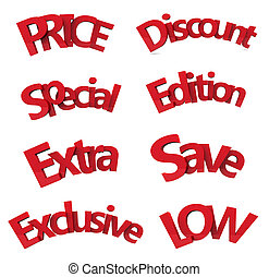set of discount text 3d