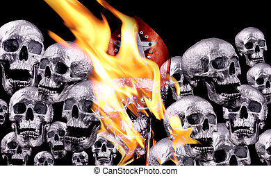 skulls - Human silver skulls with fire flames