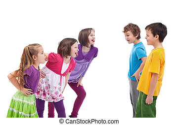 Kids confronting and mocking each other - girls and boys...