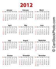 Calendar for 2012 on white, vector format