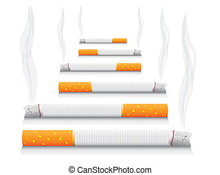 isolated smoking cigarettes - detailed realistic illustration