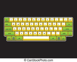 isoated computer keyboard layout - realistic illustration