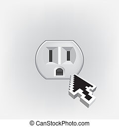 US electric household outlet isolated - illustration