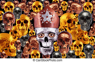 skulls - Human skulls in bronze colors