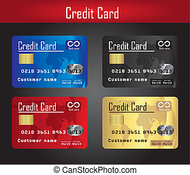 credit cards - four colorful credit cards over gray...