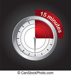 15 minutes - timer clock over black background, 15 minutes...