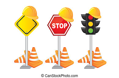 construction signs - construciton signs with helmet over...