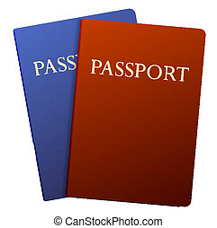 Vector passports isolated on white