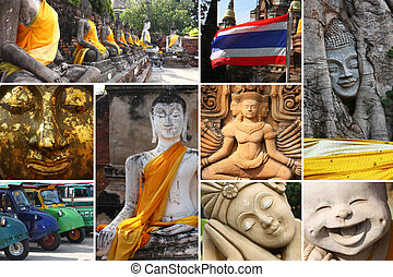 Buddha Status - Collage of Buddha Status at Ayutthaya city...