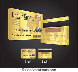 gold credit cards over black background vector illustration