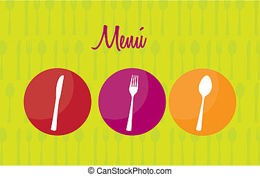 menu vector - colorful cutlery over circles, menu vector...