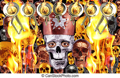 7 trumpets with fire flames and human skulls in bronze...