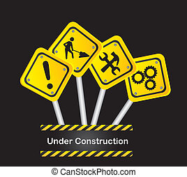 road signs over black background, under construction vector
