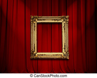 Empty golden painting frame on red curtain wall