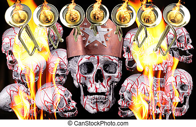7 trumpets with fire flames and human silver skulls