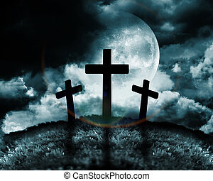 Silhouette of three crosses on a hill with a moon behind...